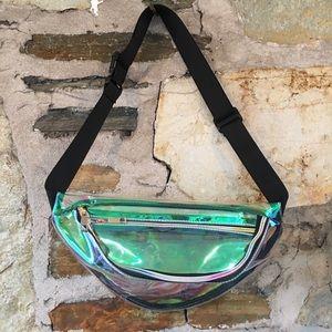 Handbags - Green/Clear/Iridescent PVC Fanny Pack Belt Bag